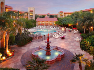 View of outdoor fountain and pool at Chaparral Suites Scottsdale.