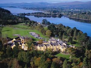 Aerial view of Sheen Falls Lodge.