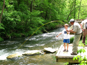 Fishing at Copper John's Resort.
