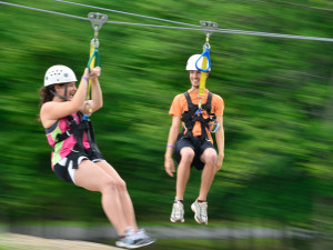 Zip lining in the Pocono Mountains