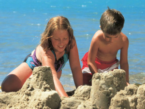 Beach activities at White Birch Lodge.