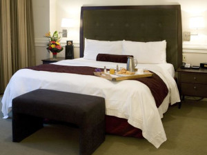 Guest room at Delta Edmonton Centre Suite Hotel.