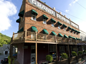 Exterior view of Grand Central Hotel.