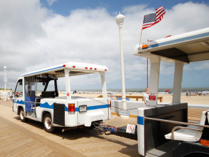 The trolley to downtown at Flagship Oceanfront Hotel Ocean City.