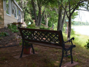 Bench at Mallard Lake Rentals.