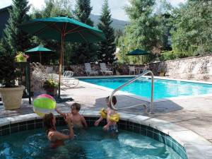 Outdoor pool and hot tub at The Borders Lodge.