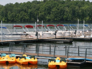 Rental boats at Highland Marina Resort.