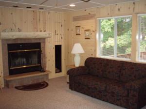Cabin living room at White Birch Village Resort.