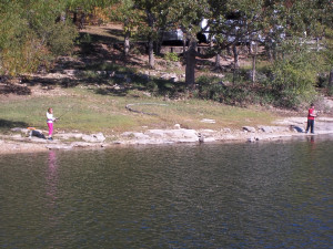 Fishing on the lake at Golden Arrow Resort.
