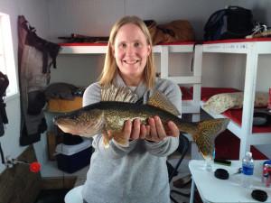 Ice fishing at River Bend Resort.