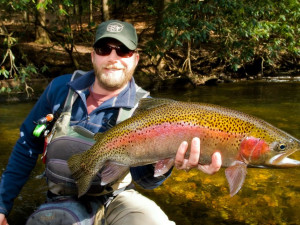 Trout fishing at Southern Comfort Cabin Rentals.