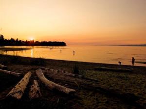 Sunset on beach at The Beach Club Resort.