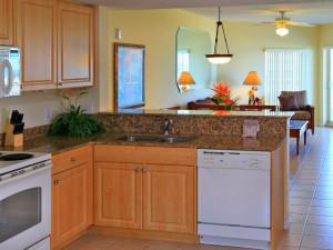 Guest kitchen at Sunset Vistas Beachfront Suites.
