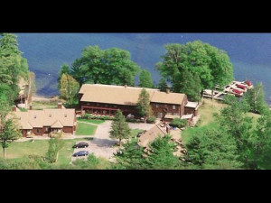 Aerial view of Northern Lake George Resort.