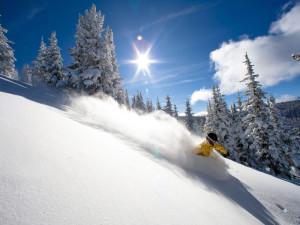 Skiing down Vail Mountain at Vail's Mountain Haus.