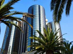 Exterior view of The Westin Bonaventure Hotel & Suites, Los Angeles.