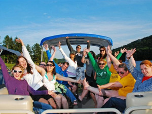 Group boating at Railey Mountain Lake Vacations.