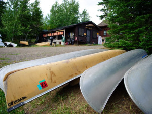 Canoes at Hungry Jack Lodge.