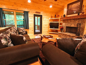 Cabin living room at Sautee Resorts.