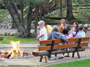 Fire pit at White Birch Village Resort.