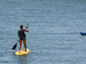 Paddle boarding at Island Club Rentals.