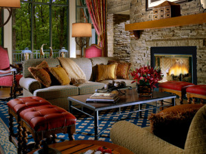 Living room at the Lodge at Woodloch.