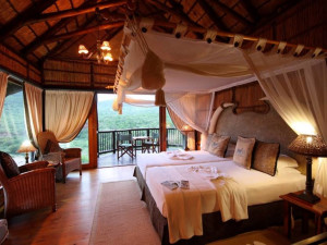 Guest room at Mkuze Falls Game Lodge.