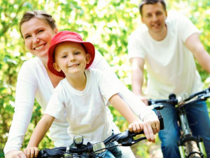 Family biking at Cliff House Resort & Spa.