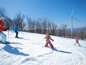 Skiing the slopes at Jiminy Peak Mountain Resort.