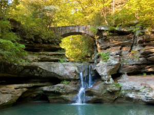 Waterfall at Old Man's Cave Chalets.
