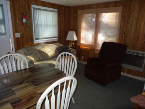 Cabin living room at Twin Oaks Resort & RV Park.