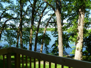 Cabin deck view at Swan Lake Resort.