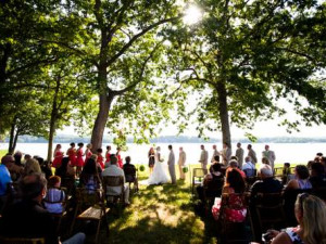 Wedding ceremony at Mallard Point Resort.