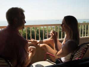 Balcony view at EdgeWater Resort and Waterpark.