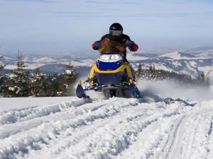 Snowmobiling at EagleRidge Lodge.