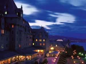 Night time exterior view of Fairmont Le Manoir Richelieu.