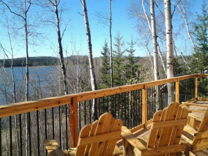 Lodge deck view at Churchill River Canoe Outfitters.