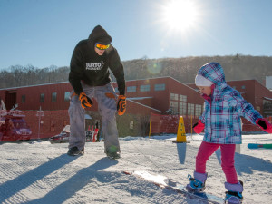 Family skiing at Bear Creek Mountain Resort.