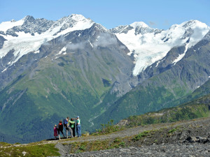 Hiking in the mountains at Alyeska Resort.