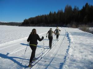 Cross country skiing at Western Pleasure Guest Ranch.