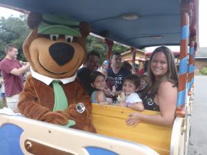 Bus ride at Yogi Bear's Jellystone Park Warrens.