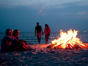 Beach fire at Driftwood Shores Resort and Conference Center.