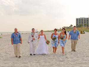 Wedding party on beach at Springmaid Beach Resort.