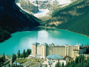 Aerial view of The Fairmont Chateau Lake Louise.