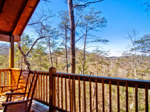 Cabin deck view at Accommodations by Parkside Resort.