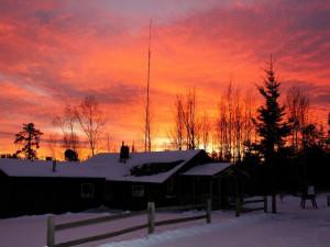 Sunset over lodge at Golden Eagle Lodge.
