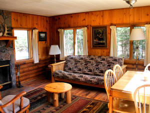 Cabin interior at Bearskin Lodge and Canoe Outfitters.