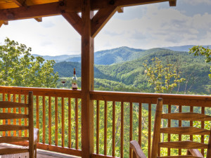 Cabin deck view at The Cabin Rental Store.