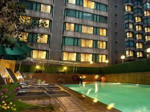 Outdoor pool at Wharney Hotel Hong Kong.