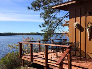 Cabin lake view at Elbow Lake Lodge.